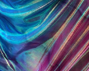 NEW Poly Spandex Iridescent Tie Dye Blue Pink Green with Metalic Green-Foil- Spandex Fabric sold by yard [Shinny Fabric]