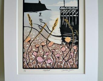 Harbour lino print