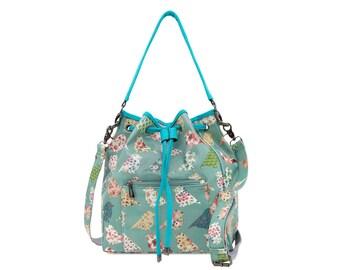 Bucket Bag -  Oilcloth bag - Ladies purse - Vegan shoulder bag - Teen girl handbag - Faux leather bag - Oil cloth drawstring bag- Green bird