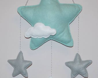Stars and cloud wall decor, baby shower gift Mint /yellow/ grey /pink /blue