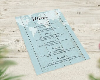 Blue Wedding Menus, Travel Theme Menu, World Map Menu, Rustic Wedding Decor, Boho Menu, Vintage Wedding Stationery, Destination Wedding Menu