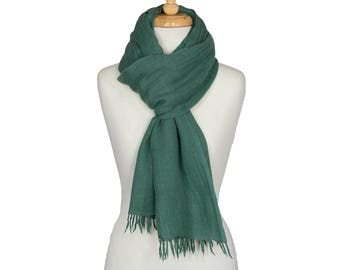 Angora wool scarf hand spun and hand woven in jade
