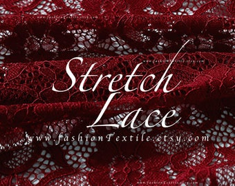 Burgundy lace fabric stretch lace. Sold by metre/ yard