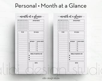 Month at a Glance, Personal Planner, Monthly Planner, Personal Inserts, Monthly Calendar, Undated Planner, Filofax Personal, kikkik Medium