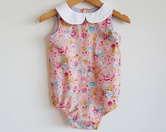 Baby girls playsuit // peter pan collar // romper // peach // pink // purple // floral // spring // baby gift // baby shower