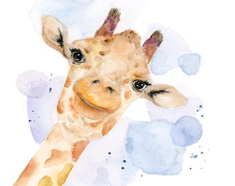 Giraffe Watercolor Art Print : Modern Giraffe Art Print / Modern Safari Animal Gender Neutral Nursery Art / Wildlife Giraffe Art Print