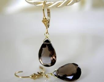 Gold Earrings smoky quartz drop cut gold or gold plated Klappbrisuren