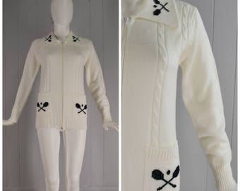 Vintage Womens White Tennis Zip Front Cardigan Sweater Jacket with Wide Collar and Patch Pockets | Size S