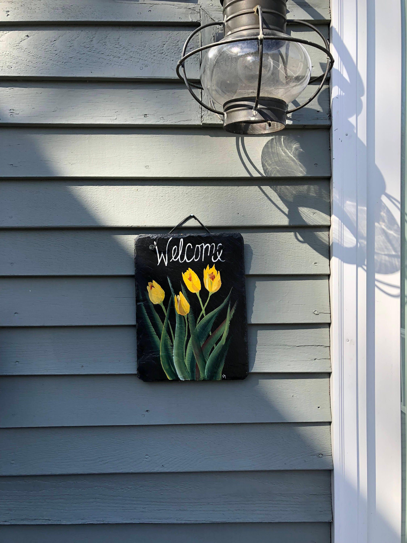Spring tulips slate welcome sign spring door hanger door What to hang on front door for decor