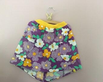 Rock skirt rokje 122 128 vintage clothing retro 70er Blumen koekje Kinderrock