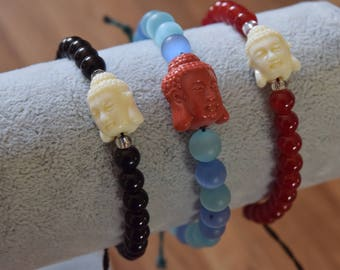 Kuan Yin Goddess pendant beaded bracelet with adjustable strap