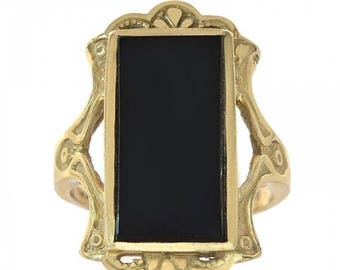 ON SALE 14K Yellow Gold Black Onyx Women's Ring