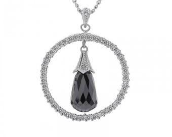 13.00 Carat Black Briolette Diamond Circle Pendant Cable Link Chain 14K White Gold