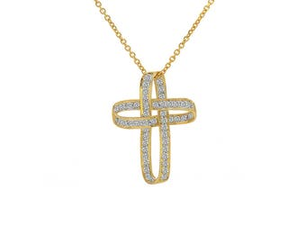 0.50 Carat Diamond Infinity Cross Pendant 14K Yellow Gold