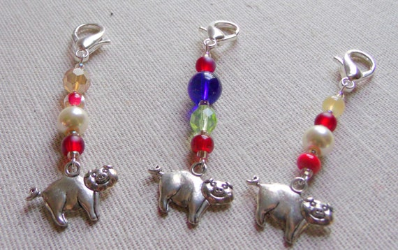 Red silver pig zipper pulls - good luck  - farmland - barnyard - gluecksschwein - Neujahr - whimsical - deep blue - backpack charm