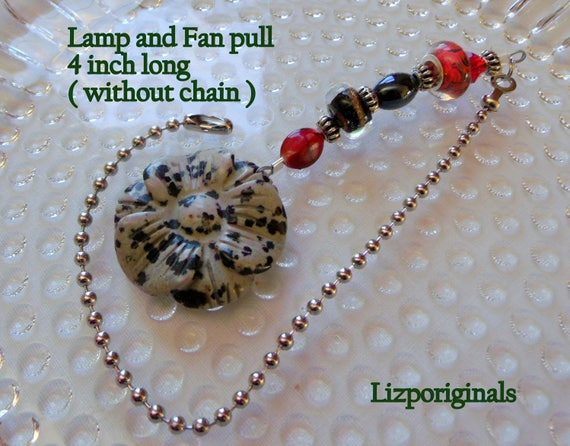 Jasper ceiling pull - flower lamp decor - red light chain pull - housewarming gift - dalmatian gem stone flower - natural  - Lizporiginals