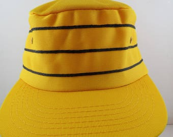 Vintage Pill Box Hat - Yellow with Back Striping - Adult Snapback