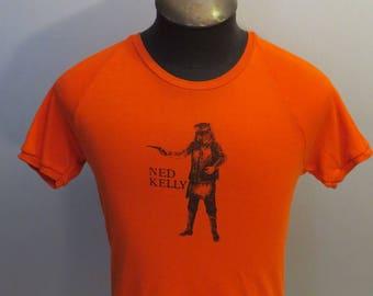Vintage Australian Tourist Shirt - Ned Kelly Graphic on Hot Orange - Mens Medium