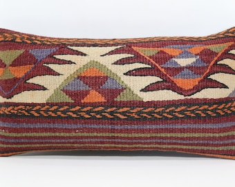 Anatolian Kilim Pillow Turkish Kilim Pillow 10x20 Naturel Kilim Pillow Decorative Kilim Pillow Home Decor Ethnic Pillow SP2550-1098