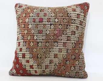 20x20 Embroidered Kilim Pillow Handwoven Kilim Pillow 20x20 Turkish Kilim Pillow Multicolor Kilim Pillow Cushion Cover SP5050-1828