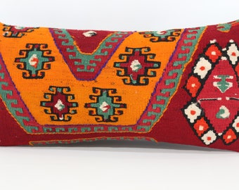 Patterned Handwoven Kilim Pillow Orange Red Color Kilim Pillow 12x24 Lumbar Turkish Kilim Pillow Home Decor Cushion Cover SP3060-942