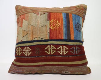 Patchwork Kilim Pillow Sofa Pillow Throw Pillow 24x24 Handwoven Kilim Pillow Bohemian Kilim Pillow Ethnic Pillow Cushion Cover SP6060-1423