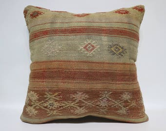 Decorative Kilim Pillow Home Decor Ethnic Pillow 24x24 Lumbar Kilim Pillow Anatolian Kilim Pillow Throw Pillow Cushion Cover SP6060-1438