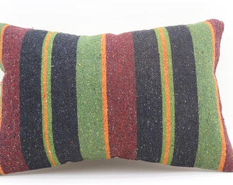 16x24 Kelim Kissen Pillow Covers Striped Pillow Turkish Decorative Kilim Pillow 16x24 Red and Green Pillow Multicolor Pillow  SP4060-1342