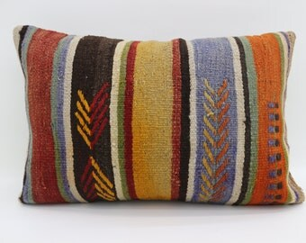 16x24 Pillows Striped Kilim Pİllow Embroidered Pillow 16x24 Kilim Pillow Multicolor Kilim Pillow Bohemian  Pillow Throw Pillow  SP4060-1422