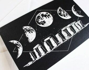 Stonehenge and Moon Lunar Cycle Greeting Card