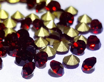 100 SS12 3mm tapered bottom faceted red faceted glass rhinestones