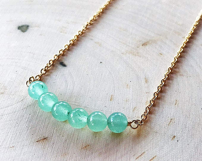 Reiki-Infused Green Aventurine Stone Necklace, Healing Crystal Jewelry, Gemstone Bead, Gold Pendant, Bohemian, Gifts For Her, Cable Chain