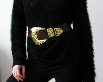 Real leather brown big buckle belt