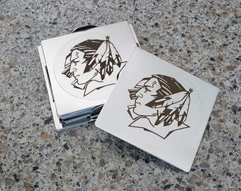 UND Fighting Sioux Laser Etched Stainless Steel Square Coasters - Set of 6 - FREE SHIPPING