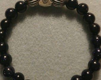 Natural Gemstone stretch bracelet of Blue Goldstone. Guitar.
