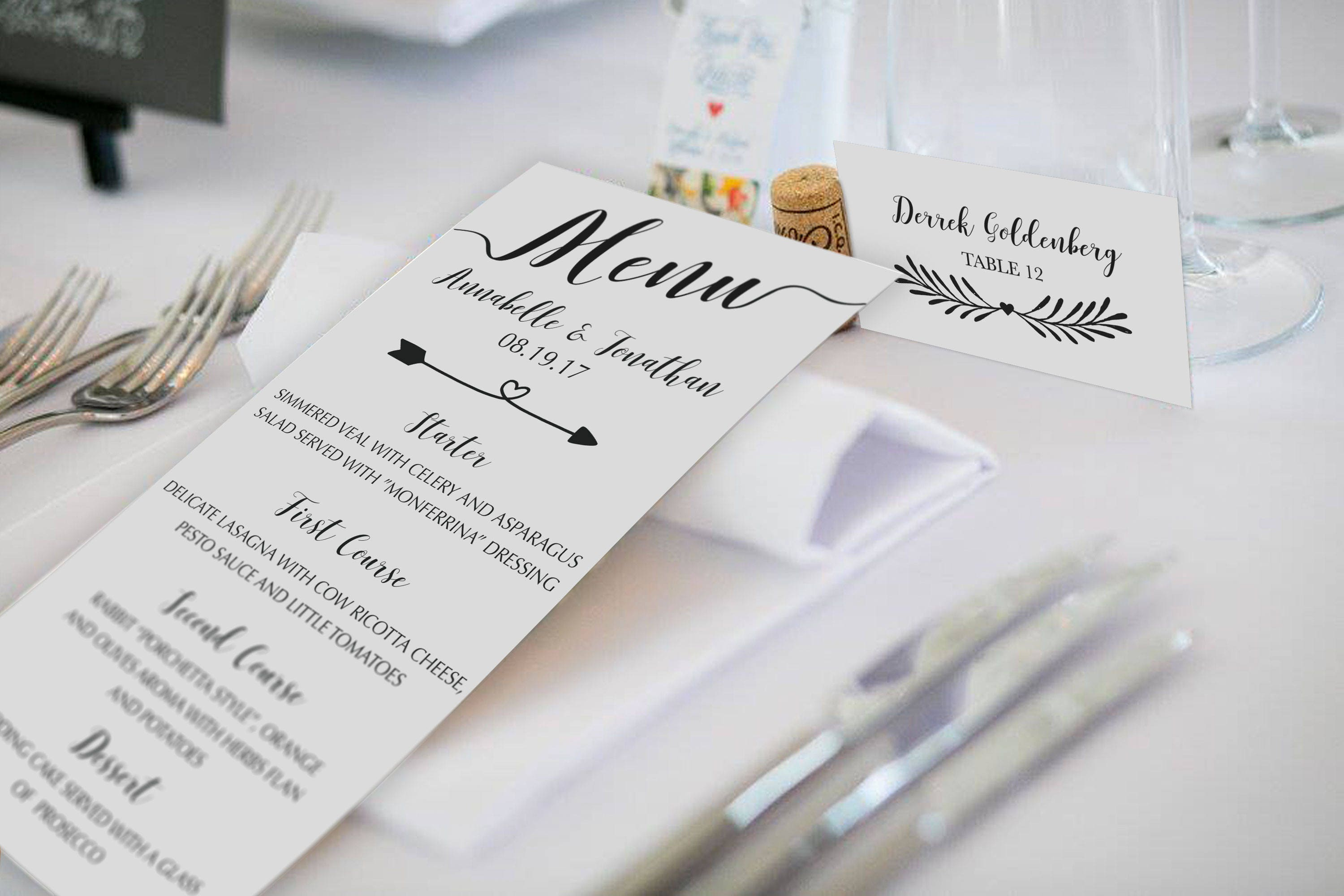 Printable Flat Place Cards printable place card template instant