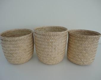 Set of 3 - Handwoven Tule Baskets / Handmade Basket / Natural Tule Basket / Decorative Basket / Storage Basket / Planter