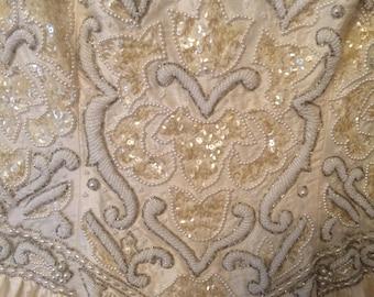 Wedding Dress Raw Silk with Hand Beaded Bodice NEVER Worn
