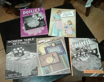 Vintage Lot of 5 1940s Crochet Books