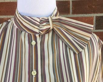 Women's vintage blouse, 1970s blouses, haberdashery, haberdashery by personal, striped blouse