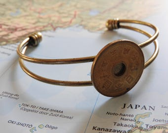 Japan coin cuff bracelet - made of a original coin from Japan - wanderlust - travelgift