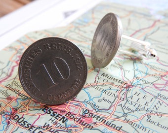 Germany vintage 1906/1912 coin cufflinks - made of vintage 10 pfennigs from Germany - pfennig - birth year - wedding gift