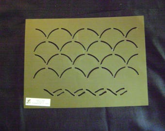 Sashiko Japanese or Traditional Quilting Stencil 4.5 in. By 9.5 in. Asian Waves Overall Border/Background Design
