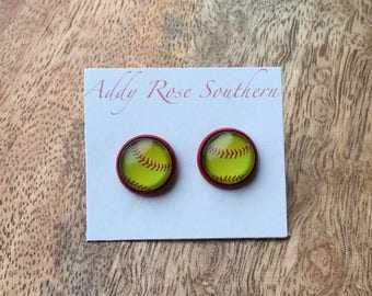 12mm softball stud earrings, softball earrings