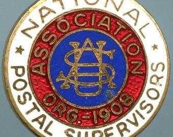 USA National Organization 1908 Postal Supervisors lapel Pin Badge