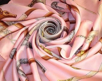"""HERMES Silk Scarf """"Cannes et Pommeaux"""" Rose / Pink scarf Hermes"""