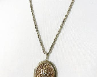 Locket necklace Vintage Sarah Cov large locket pendant necklace 24  inch chain