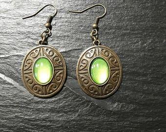 Bronze metallic green earrings / ethnic Bohemian boho/green cabochon painted by hand / long pendant/gift women girl