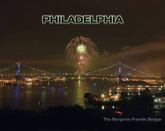 Philadelphia PA 4th of July Fireworks Benjamin Franklin Bridge Continental Postcard