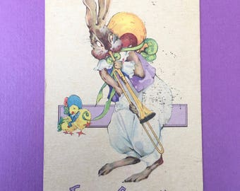 Darling Art Deco Era Easter Postcard with Bunny Playing Trombone for Chicks